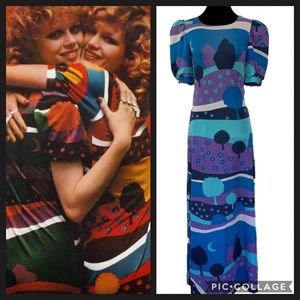 Vintage 1970s Mod Maxi Dress Psychedelic Hippy
